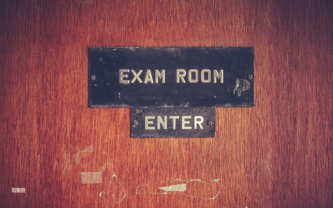 Sign saying exam room