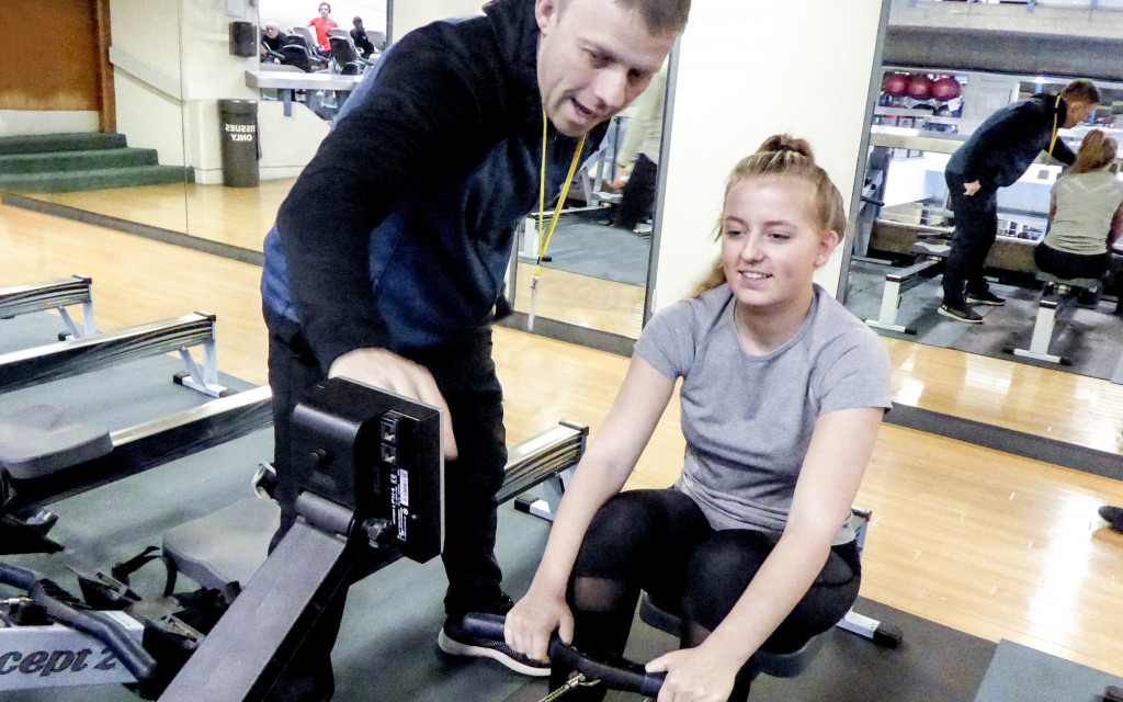 FTA learner working with tutor for an exercise session