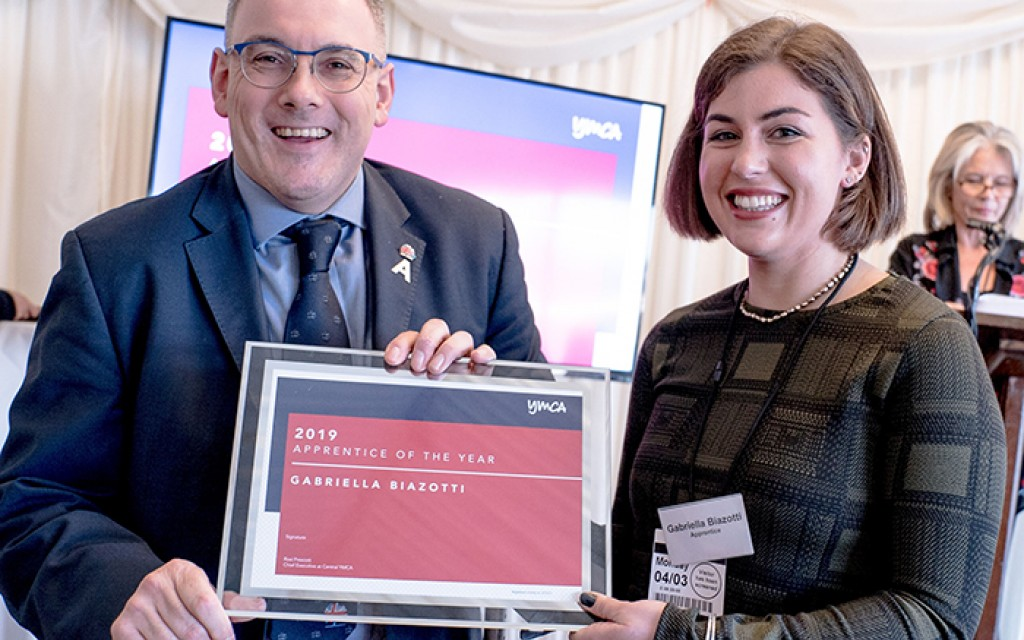 Gabriella Biazotti wins YMCA Apprentice of the Year