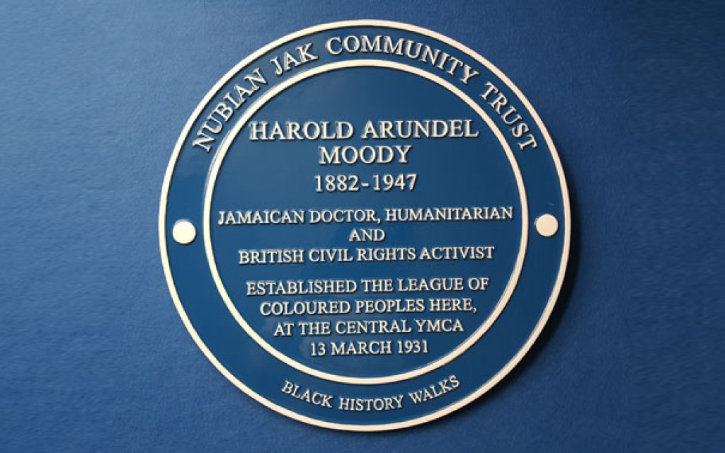 Dr Harold Moody commemorative blue plaque outside Central YMCA Club